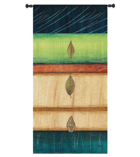 Springing Leaves I by Laurie Fields | Woven Tapestry Wall Art Hanging | Contemporary Vertical Leaf Collage | 100% Cotton USA Size 60x31 Wall Tapestry