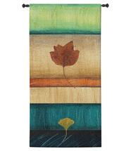 Springing Leaves II by Laurie Fields | Woven Tapestry Wall Art Hanging | Contemporary Vertical Leaf Collage | 100% Cotton USA Size 52x26 Wall Tapestry