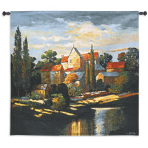 Autumn Memories by Max Hayslette | Woven Tapestry Wall Art Hanging | Tuscan Villa Landscape Waterfront at Sunset | 100% Cotton USA Size 53x53 Wall Tapestry