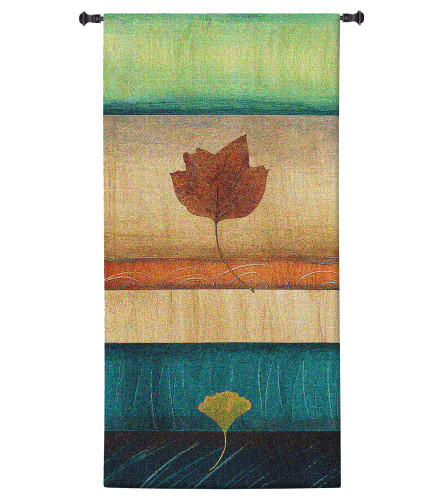 Springing Leaves II by Laurie Fields | Woven Tapestry Wall Art Hanging | Contemporary Vertical Leaf Collage | 100% Cotton USA Size 60x31 Wall Tapestry
