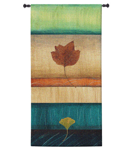 Springing Leaves II by Laurie Fields | Woven Tapestry Wall Art Hanging | Contemporary Vertical Leaf Collage | 100% Cotton USA Size 34x17 Wall Tapestry