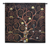 Stoclet Frieze Schwartz by Gustav Klimt - Stoclet Frieze Series | Woven Tapestry Wall Art Hanging | Black Abstract Spiritual Tree of Life | 100% Cotton USA Size 53x53 Wall Tapestry