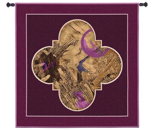 Cosmic Plan II | Woven Tapestry Wall Art Hanging | Abstract Rich Golden Quatrefoil Design with Velvet Accents | 100% Cotton USA Size 53x53 Wall Tapestry