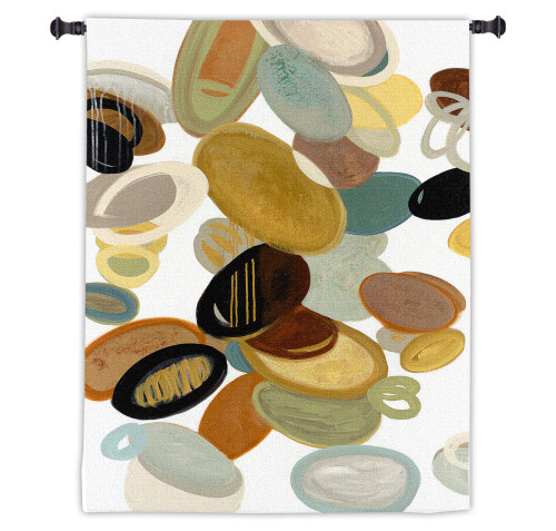 Falling Stones by Cat Tesla | Woven Tapestry Wall Art Hanging | Soft Colorful Nature Oval Design | 100% Cotton USA Size 48x32 Wall Tapestry