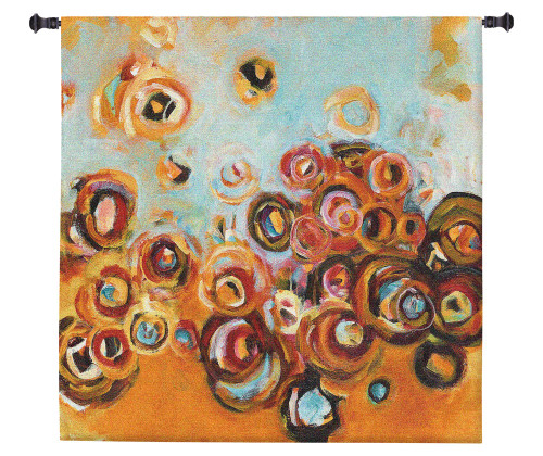 Paradisio II by Patrick Pryor | Woven Tapestry Wall Art Hanging | Vibrant Abstract Floral Bouquet | 100% Cotton USA Size 60x60 Wall Tapestry