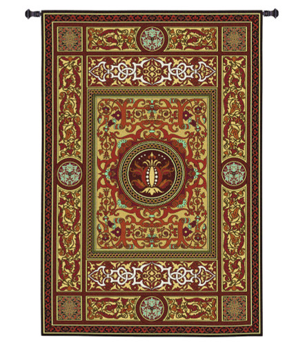 Chateau Avignon | Woven Tapestry Wall Art Hanging | Lavish Intricate Floral Pattern | 100% Cotton USA Size 79x53 Wall Tapestry