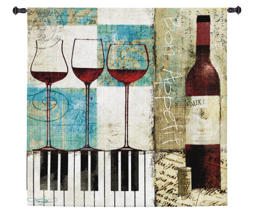 Bon Appetit by Keith Mallett | Woven Tapestry Wall Art Hanging | Wine And Piano Contemporary Collage | 100% Cotton USA Size 60x60 Wall Tapestry