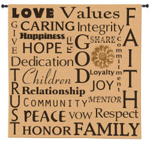 Family Values | Woven Tapestry Wall Art Hanging | Homely Inspirational Principles Wold Collage | 100% Cotton USA Size 53x52 Wall Tapestry