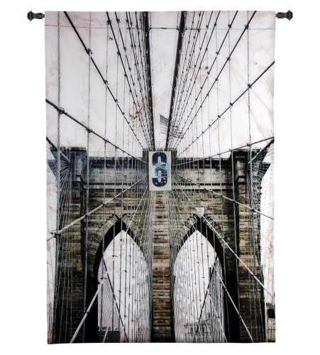 Washington Bridge by Nathan Bailey | Woven Tapestry Wall Art Hanging | Industrial New York City Architecture | 100% Cotton USA Size 64x41 Wall Tapestry