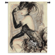 My Fair Lady I by Karen Dupre | Woven Tapestry Wall Art Hanging | Elegant Woman with Hat Etched Artwork | 100% Cotton USA Size 53x43 Wall Tapestry