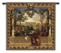 Le Chateau de Monceau Wool and Cotton by Louis Carrogis   Woven Tapestry Wall Art Hanging   Louis XIV Palace Garden with String Musicians   100% Cotton USA Size 53x53 Wall Tapestry