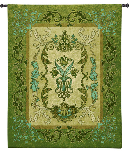 Basil Tapestry | Woven Tapestry Wall Art Hanging | Intricate Botanical Design in Lush Greens | 100% Cotton USA Size 53x41 Wall Tapestry