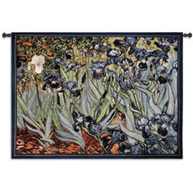 Irises by Vincent van Gogh | Woven Tapestry Wall Art Hanging | Striking Vivid Flowers Post-Impressionist Masterpiece | 100% Cotton USA Size 53x38 Wall Tapestry
