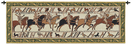 Bayeux Tapestry Historic Masterwork of Norman Conquest of England | Woven Tapestry Wall Art Hanging | Historic Artwork with Border | 100% Cotton USA Size 76x27 Wall Tapestry