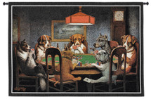 Dogs Playing Poker by Cassius Marcellus Coolidge | Woven Tapestry Wall Art Hanging | Classic Whimsical Game Room Art | 100% Cotton USA Size 54x38 Wall Tapestry