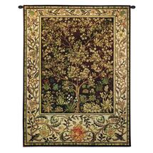 Tree of Life Umber by William Morris | Arts and Crafts Style Woven Tapestry Wall Art Hanging | Ornate Spiritual Tree Pattern | 100% Cotton USA Size 40x30 Wall Tapestry