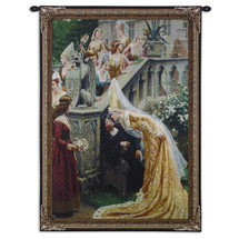 A Kiss by Edmund Blair Leighton | Woven Tapestry Wall Art Hanging | Medieval Scottish Royal Palace Scene | 100% Cotton USA Size 38x31 Wall Tapestry