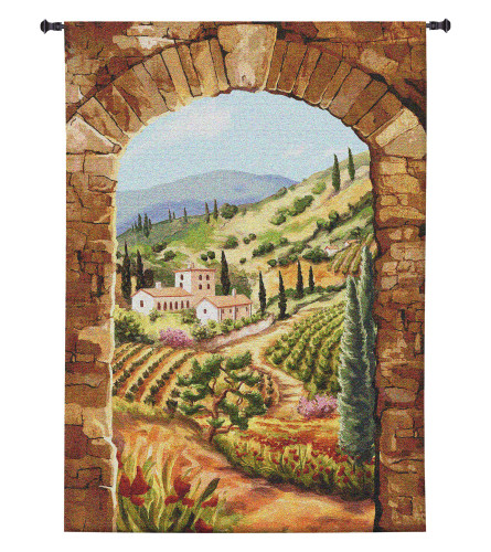 Tuscan Vineyard by Brad Simpson | Woven Tapestry Wall Art Hanging | Lush Italian Villa Hillside | 100% Cotton USA Size 90x64 Wall Tapestry