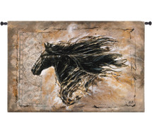 Black Beauty | Woven Tapestry Wall Art Hanging | Contemporary Majestic Horse with Billowing Mane | 100% Cotton USA Size 63x42 Wall Tapestry