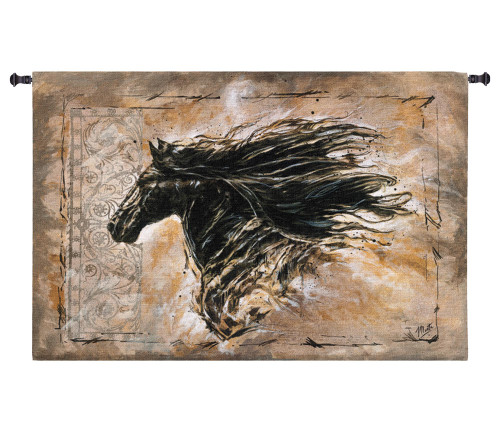 Black Beauty | Woven Tapestry Wall Art Hanging | Contemporary Majestic Horse with Billowing Mane | 100% Cotton USA Size 44x29 Wall Tapestry