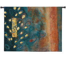 The Temple Tree by Natalia Morley Russell | Woven Tapestry Wall Art Hanging | Abstract Yellow Tree on Earthy Background | 100% Cotton USA Size 53x39 Wall Tapestry