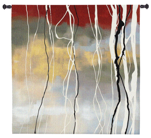 Silver Birch I by Laurie Maitland | Woven Tapestry Wall Art Hanging | Abstract Subtle Forest Landscape | 100% Cotton USA Size 31x31 Wall Tapestry