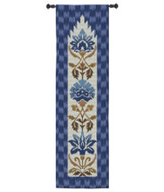 Ikat Indigo by Sarah Simpson | Woven Tapestry Wall Art Hanging | Geometric Botanical Vertical Pattern with Royal Blues | 100% Cotton USA Size 52x16 Wall Tapestry