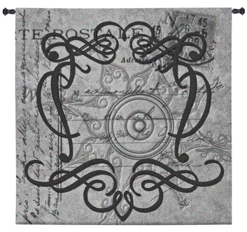 True North | Woven Tapestry Wall Art Hanging | Grayscale Filigree Patterns over Vintage Postal Background | 100% Cotton USA Size 60x60 Wall Tapestry
