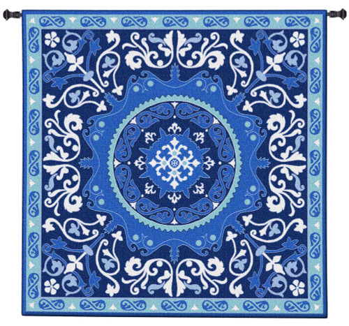 Suzani Celestial | Woven Tapestry Wall Art Hanging | Ornate Central Asian Patterned Tribal Textile | 100% Cotton USA Size 53x53 Wall Tapestry