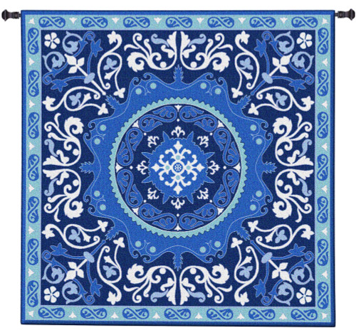 Suzani Celestial | Woven Tapestry Wall Art Hanging | Ornate Central Asian Patterned Tribal Textile | 100% Cotton USA Size 31x31 Wall Tapestry