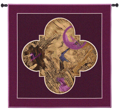 Cosmic Plan II | Woven Tapestry Wall Art Hanging | Abstract Rich Golden Quatrefoil Design with Velvet Accents | 100% Cotton USA Size 31x31 Wall Tapestry
