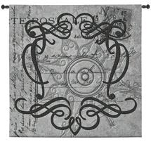 True North | Woven Tapestry Wall Art Hanging | Grayscale Filigree Patterns over Vintage Postal Background | 100% Cotton USA Size 31x31 Wall Tapestry