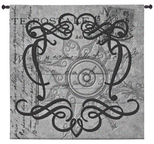 True North | Woven Tapestry Wall Art Hanging | Grayscale Filigree Patterns over Vintage Postal Background | 100% Cotton USA Size 50x50 Wall Tapestry