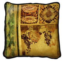 Fine Art Tapestries Arts and Crafts I Textured Hand Finished Elegant Woven Throw Pillow Cover 100% Cotton Made in the USA Size 27 x 27 Pillow