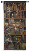 Classic Tails by Charles Wysocki | Woven Tapestry Wall Art Hanging | Cute Sleeping Cats on Bookshelf - Fun Cat Lover's Gift | 100% Cotton USA Size 75x36 Wall Tapestry
