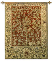 Tree of Life Ruby by William Morris | Arts and Crafts Style Woven Tapestry Wall Art Hanging | Ornate Eternal Life with Crimson | 100% Cotton USA Size 53x40 Wall Tapestry