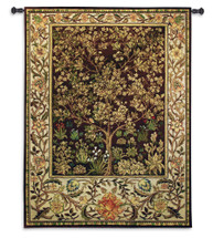 Tree of Life Umber by William Morris |  Arts and Crafts Style Woven Tapestry Wall Textile Art  | Ornate Spiritual Tree Pattern | 100% Cotton USA Size 77x53 Wall Tapestry