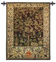Tree of Life Umber by William Morris |  Arts and Crafts Style Woven Tapestry Wall Textile Art  | Ornate Spiritual Tree Pattern | 100% Cotton USA Size 53x40 Wall Tapestry