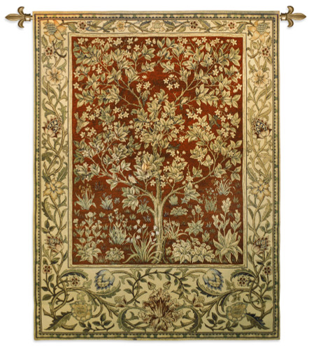 Tree of Life Ruby by William Morris |  Arts and Crafts Style Woven Tapestry Wall Textile Art  | Ornate Eternal Life with Crimson Red| 100% Cotton USA Size 53x40 Wall Tapestry