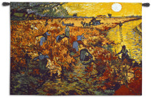 The Red Vineyard by Vincent van Gogh | Woven Tapestry Wall Art Hanging | Impressionist Fiery Floral Landscape Masterpiece | 100% Cotton USA Size 53x37 Wall Tapestry