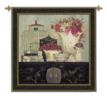 Songbird Bouquet by Kathryn White | Woven Tapestry Wall Art Hanging | Floral Table with Books and Birdcage Still Life | 100% Cotton USA Size 53x53 Wall Tapestry