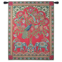 Asian Elephants | Woven Tapestry Wall Art Hanging | Jewel Tones with Peacocks | 100% Cotton USA Size 67x53 Wall Tapestry