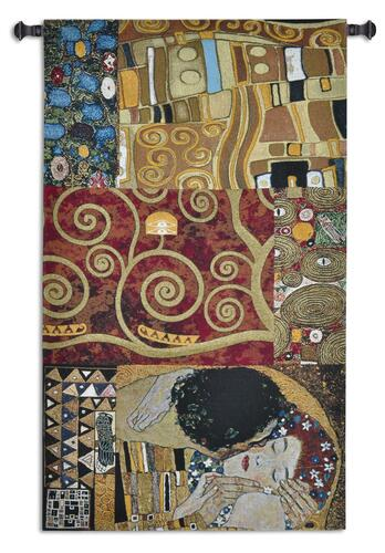 Elements to a Kiss by Gustav Klimt | Woven Tapestry Wall Art Hanging | Vertical Abstract Contemporary Romantic Art Nouveau | 100% Cotton USA Size 59x34 Wall Tapestry