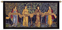 The Orchard by William Morris | Woven Tapestry Wall Art Hanging | Four Women Holding Banner in Lush Forest | 100% Cotton USA Size 100x48 Wall Tapestry