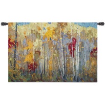 Disco | Woven Tapestry Wall Art Hanging | Abstract Vibrant Birch Forest | 100% Cotton USA Size 52x34 Wall Tapestry