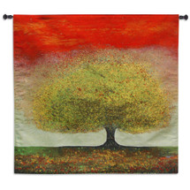 Dreaming Tree Red by Melissa Graves-Brown | Woven Tapestry Wall Art Hanging | Warm Color Texture Pointillism Apple Tree | 100% Cotton USA Size 52x52 Wall Tapestry