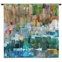 Glacier Bay III by James Burghardt | Woven Tapestry Wall Art Hanging | Mixed Color Composition Abstract | 100% Cotton USA Size 53x53 Wall Tapestry