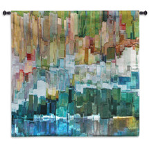 Glacier Bay III by James Burghardt | Woven Tapestry Wall Art Hanging | Mixed Color Composition Abstract | 100% Cotton USA Size 44x44 Wall Tapestry