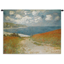 Path Through the Corn at Pourville by Claude Monet | Woven Tapestry Wall Art Hanging | Impressionist Seascape Masterpiece | 100% Cotton USA Size 40x30 Wall Tapestry