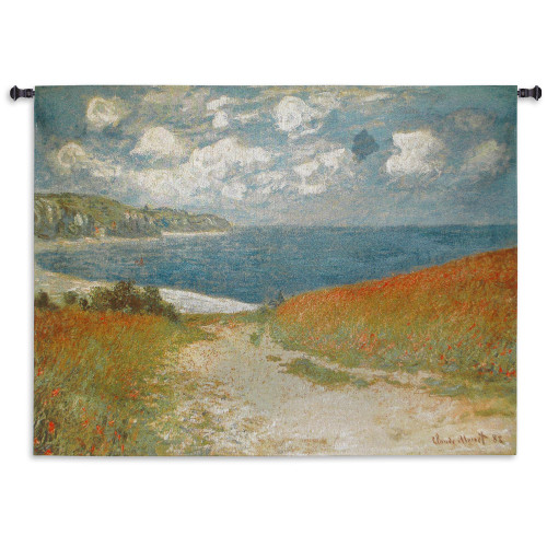 Path Through the Corn at Pourville by Claude Monet | Woven Tapestry Wall Art Hanging | Impressionist Seascape Masterpiece | 100% Cotton USA Size 70x53 Wall Tapestry